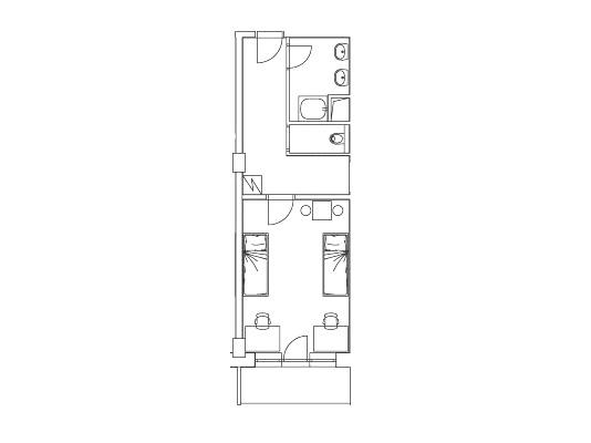 Vybavení pokojů Apartman Student